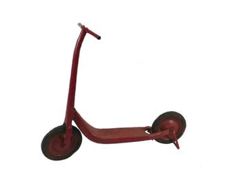 Vintage Red Push Scooter, Antique Toys, Amish Scooter