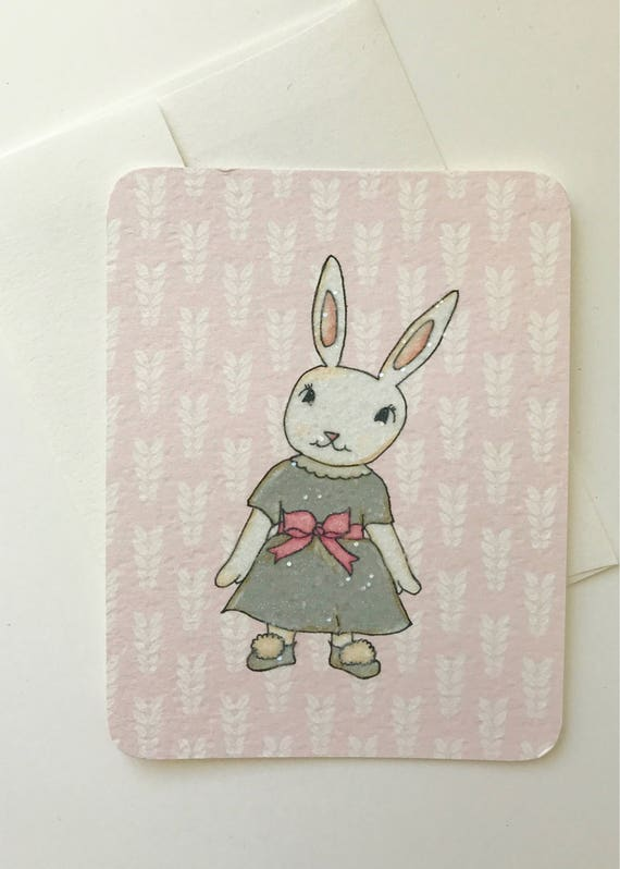 Dressed Up White Rabbit Card