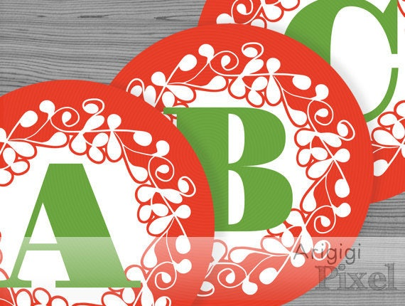 Printable red alphabet circles - ornate design - Christmas party garland letters and numbers