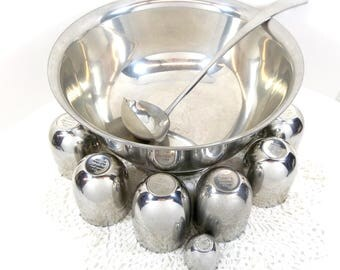 Kirk Stieff Pewter Punch Bowl Set Ladle 12 Jefferson Cups P50 Shot Jigger Cup Authentic Restoration Cups