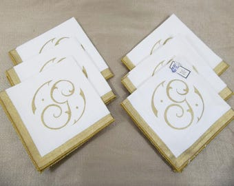 Belgian Linen  Holiday Christmas Cocktail Desert Napkins Monogramed Gold G Gilded Edges Set 6 Original Tag Unused