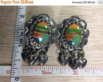10% OFF 3 day sale Vintage Silver Toned Native American Looking Design Earrings Enamel Used
