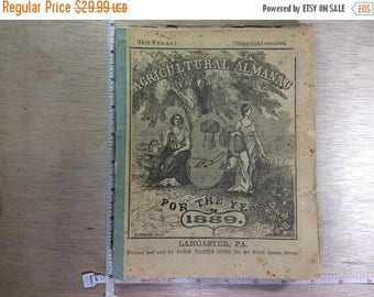 10% OFF 3 day sale Vintage Lot Of Ten Agricultural Almanacs Lancaster Pa Dated 1889-1912 Used