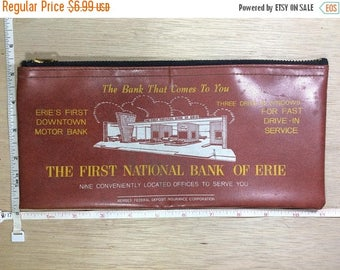 10% OFF 3 day sale Vintage Bank Coin Money Bag The First National Bank Of Erie Rust Used