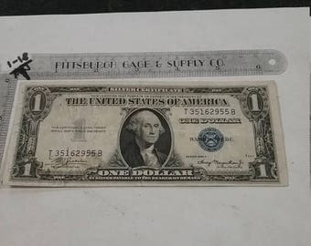 10% OFF 3 day sale Vintage used circulated silver certificate 1935 1 dollar T35162955 B