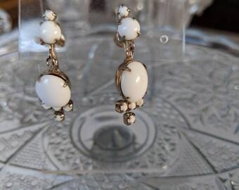 Milk Glass Dangle Screwback Earrings