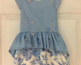Lace flowery handmade girls party dress age 2yrs