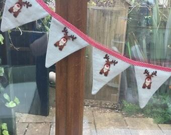 Reindeer  Bunting X 6 FLAGS. Christmas Bunting. Kids Bunting. Kids Garlands. Christmas Garland