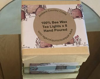 Pure Bee wax Tea Lights x 8