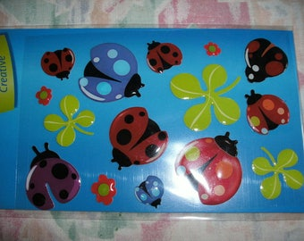 Stickers, beetles, 1 sheet, 3D (230)