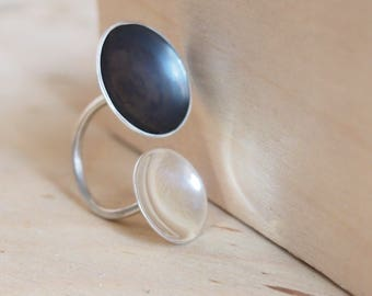 Black silver ring  with two circles, Large silver ring, Oxidized silver ring, womens jewelry
