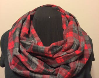 Red Gray and Black Plaid Flannel Cotton Fabric Infinity Scarf