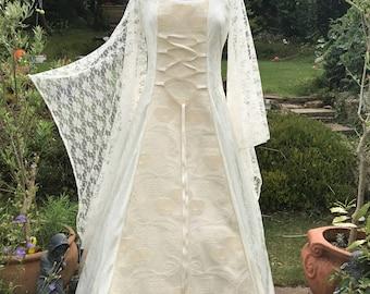 Celtic Ivory steampunk bespoke victorian bustle medieval renaissance pre raphalite  pagan Handfasting wedding gown / dress 8 TO 14