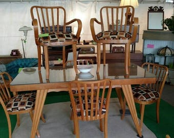 Antique Italian Wood Mid Century Modern Dining Table and Six Chairs MCM Kitchen Chairs and Table Beautiful Lines and Condition Near Mint