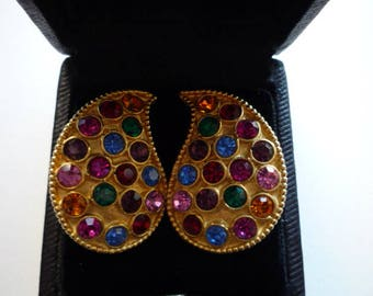 Vintage Ellen Designs Gold Tone Multi-Colored Rhinestone Tear Shaped Clip On Earrings.