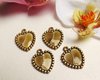 set of 4 enameled brass toned heart charms