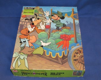 GOLDEN PUZZLE Mickey Mouse Prince and Pauper Jigsaw 200 pieces 1980s
