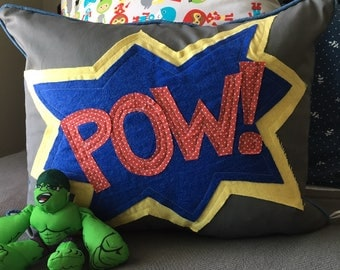 Child Pillow 16 x 20 inch Pillow Cover Superhero Pillow Cover Kids Room Decor Gray Pillow Cover Red Blue Pillow Cover Lumbar Pillow Cover