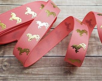 5/8 inch CORAL UNICORN grosgrain ribbon