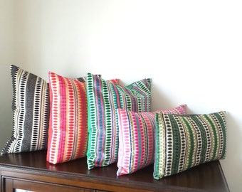 Decorative Pillows, Embroidered Pillows, Black/Rust/Emerald/Pink & Gray Pillows, Cotton Jacquard, Available in 3 Sizes - READY TO SHIP