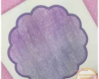 ON SALE Scalloped Frame Machine Embroidery Applique Design