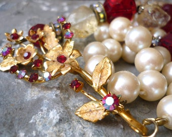 repurposed necklace, upcycled necklace, vintage necklace, citrine necklace,red crystal necklace, brooch necklace, white pearl necklace,