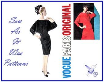 1960s FF Unused Vogue Paris Original 1513 Designer Jacques Heim Dolman Sleeves Bias Bodice Dress Vintage Sewing Pattern Size 16 Bust 36 92cm