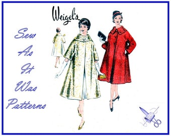 """FF Unused 1960s Weigel's 2062 Vintage Sewing Pattern A-Line Swing Coat Large Collar Pockets Button Closure Size 16 Bust 36"""" 92cm"""