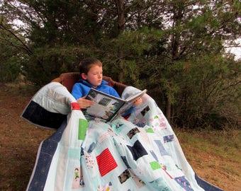 Adventure Twin Quilt, Modern Adventurer Twin Quit, Adventurer Patchwork Quilt, Boy's Adventurer Bed Quilt, Blue Boy's Quilt, Twin Quilt