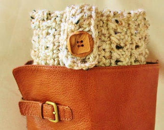 Handmade Crochet Oatmeal Boot Cuffs Boot Toppers Leg Warmers, Comes in Gift Bag