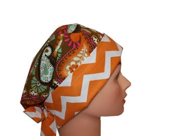Scrub Hat Surgical Scrub Cap Chemo Chef Vet Nurse Dentist Hat Flirty Front Fold Pixie Brown Orange Green Pink Paisley 2nd Item Ships FREE