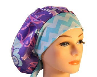 Scrub Cap Surgical Hat Chef   Dentist Hat Tie Back Bouffant Lilac Purple Blue Floral Chevron 2nd Item Ships FREE