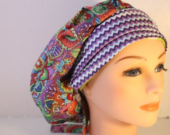 Scrub Cap Surgical Medical Chemo Chef Vet Doctor Nurse Hat Banded Bouffant Tie Back Purple Blue Green Butterfly Chevron 2nd Item Ships FREE