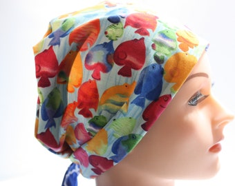 Medical Hat Surgical Scrub Cap Chemo Hat Tie Back / European Pixie Style / Bright Fish Blue E001 2nd Item Ships FREE
