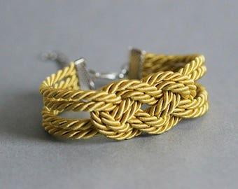 Golden Rope Bracelet Mustard Knot Bracelet Golden Knot Bracelet Knot Rope Bracelet Sailor Knot Love Knot Nautical Bracelet Nautical Knot