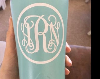 Vinyl Decals Monogrammed Initials for Water Bottle DECAL ONLY