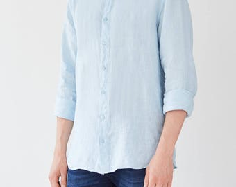 Light Blue Linen Snapdragon Men's Shirt
