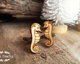 Seahorse Wooden Cufflinks Sea horse Sea dragon animal creature Dad Grooms Best man Groomsman Rustic Wedding Birthday Gift Cuff links