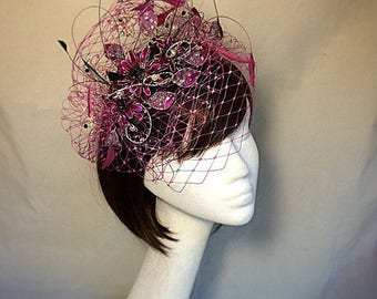 Pink fascinator, pink tiara, veiled headdress, pink and black tiara,pink flower fascinator, unique fascinator