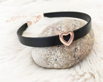 Black genuine  leather rose gold heart choker. Rose gold jewellery.