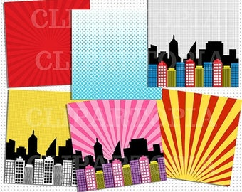 50% OFF SALE Superhero Comic Book Paper Pack / Superheroes Paper Pack For Personal and Commercial Use / Instant download