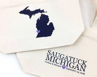 Set of 12 Michigan Tote Bags, Canvas Wedding Totes, Wedding Welcome Bags, Handmade Wedding Favors, Hotel Gift Bag, Bridesmaid Groomsmen Gift