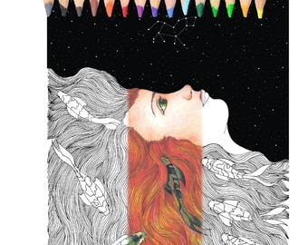 Adult Coloring Book. coloring pages, women. fhish, starts,night