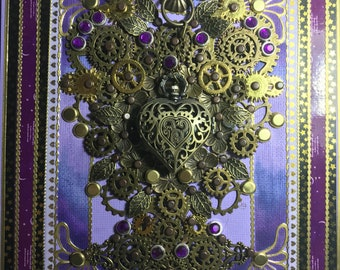 The Lilac Heart Steampunk Journal with working clock
