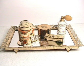 Women's Vintage Vanity Items, Mirrored Gold Footed Tray, Porcelain Atomizer, Small Round Mirror, 2 Lipstick Holder, 5 Powder Boxes lot
