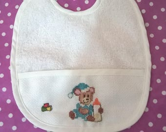 Baby Blue Teddy bear hand embroidered Terry bib