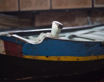 Antique Boat, Wooden Boat, Colorful, Antique Wood, Historical Navy Boat, Blue, Yellow, Red, White