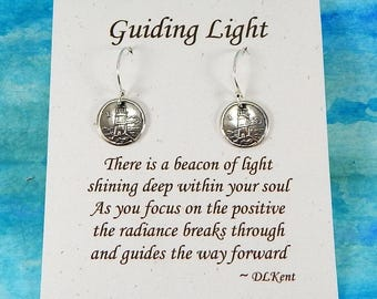Tiny Lighthouse Earrings, Inspirational Jewelry, Guiding Light Symbol, Cape Earrings, Ocean Inspired Earrings, Fine Silver Earrings