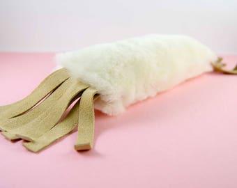 Cat Kicker, Cat Kicker Stick, Kitty Kicker, Kick Stick, Organic Catnip or Silvervine Mix, Natural Sheepskin, Optional Fringe Cat Toy