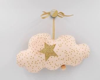 Mobile Musical Nuage Nude à petits triangles dorés - Lin Or - Boite à musique - Une étoile dans ma cabane